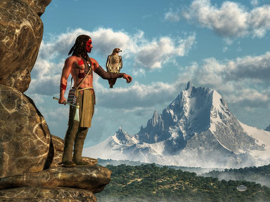 Red-tailed Digital Art - Hawk Warrior by Daniel Eskridge