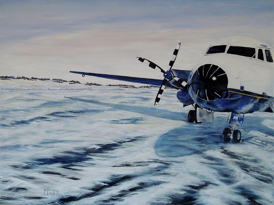 Airplane Painting - Hawker - Airplane On Ice by Marilyn  McNish