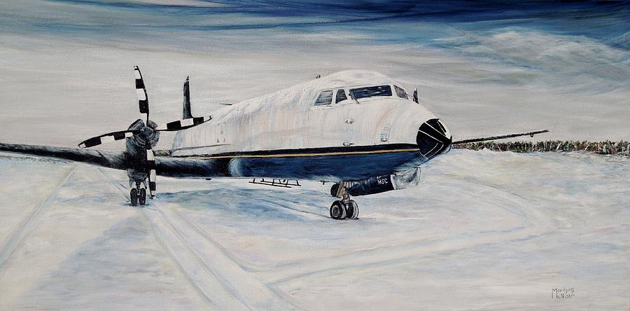 Airplane Painting - Hawker - Waiting Out The Storm by Marilyn  McNish