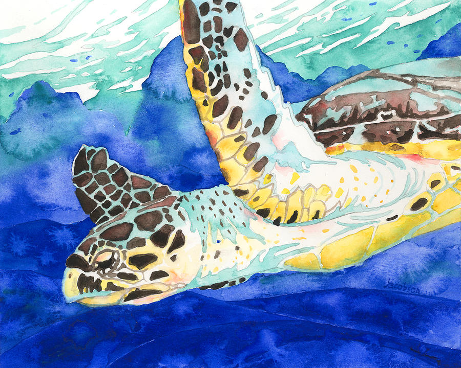 Turtle Painting - Hawksbill Sea Turtle by Pauline Walsh Jacobson