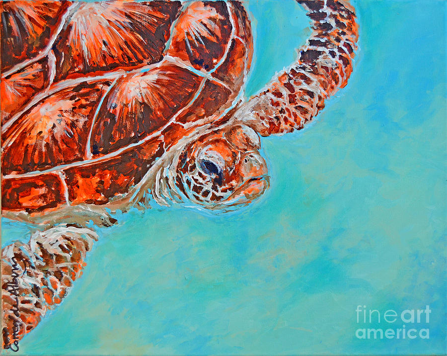 Beach Painting - Green Turtle by Paola Correa de Albury