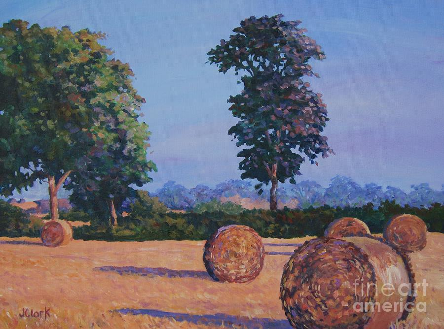 Lincolnshire Painting - Hay-bales In Evening Light by John Clark