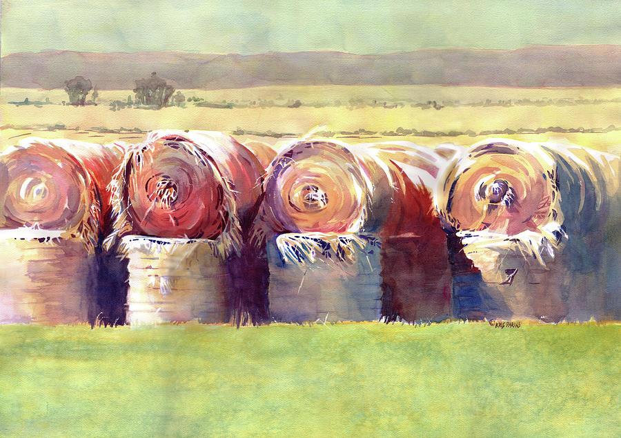 Wisconsin Artist Painting - Hay Bales by Kris Parins