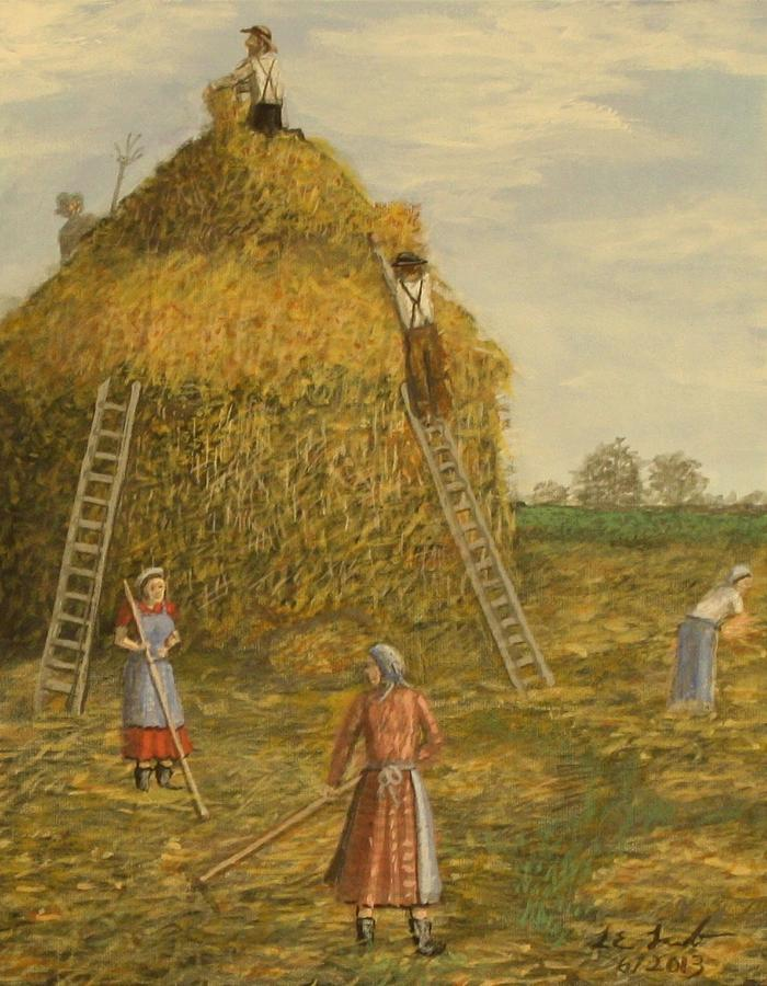 Farm Painting - Hay Days. by Larry Lamb