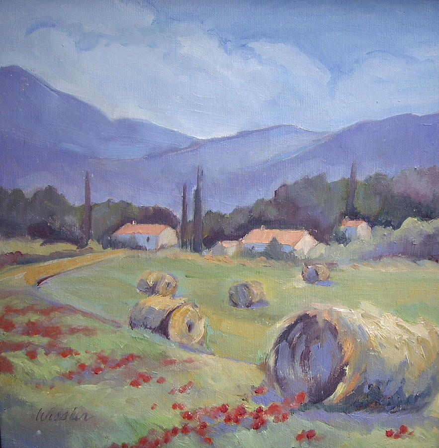 Haybales Painting - Haybales And Poppies Of Provence by Linda  Wissler