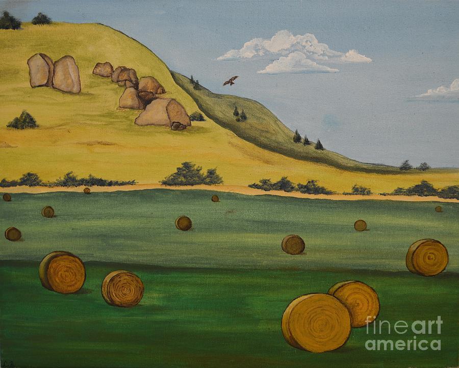 Landscape Painting - Haybales by Cassandra Barnhart