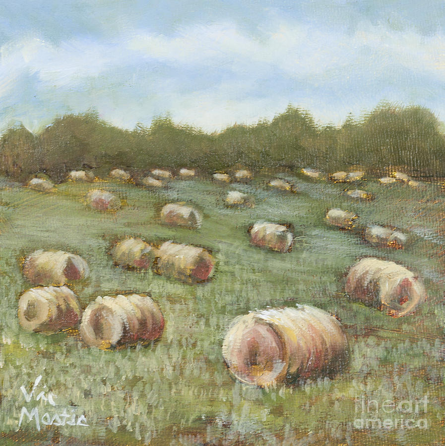 Hay Bales Painting - Haybales In The Field by Vic  Mastis