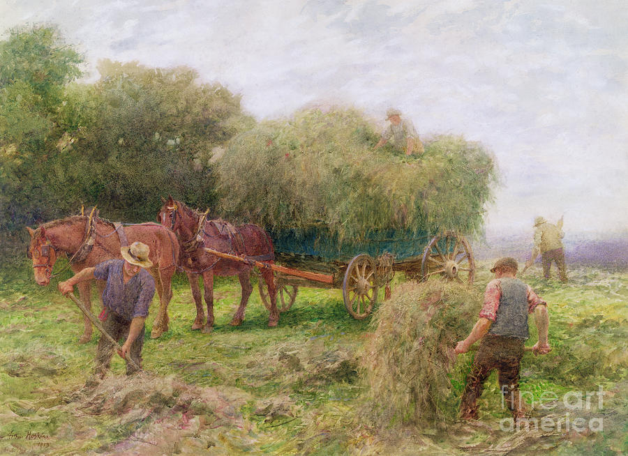 Horses Painting - Haymaking by Arthur Hopkins