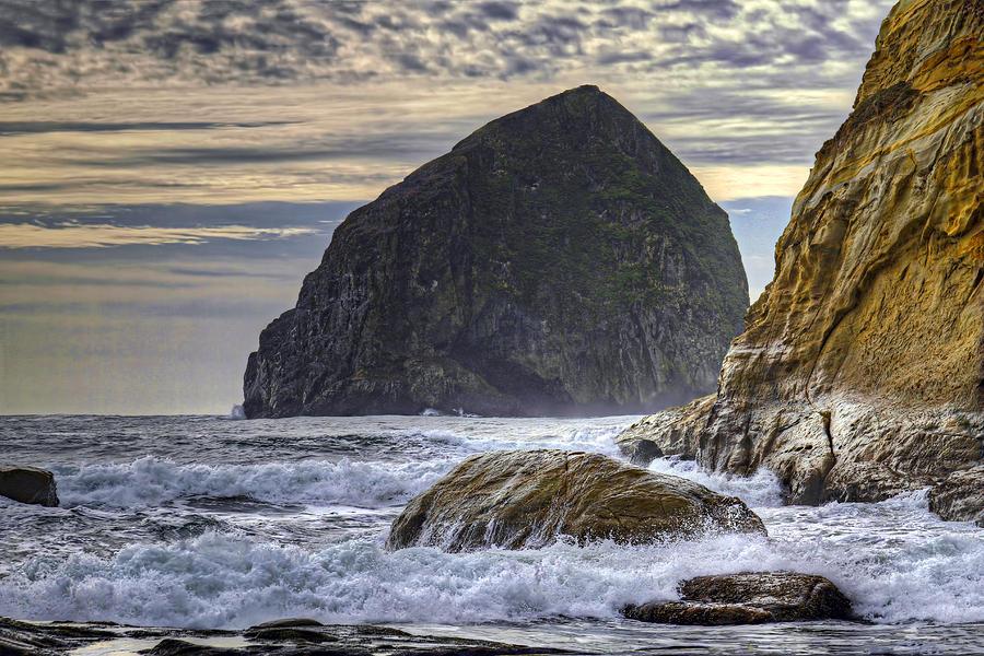 Crashing Waves Photograph - Haystack Rock At Cape Kiwanda by David Gn