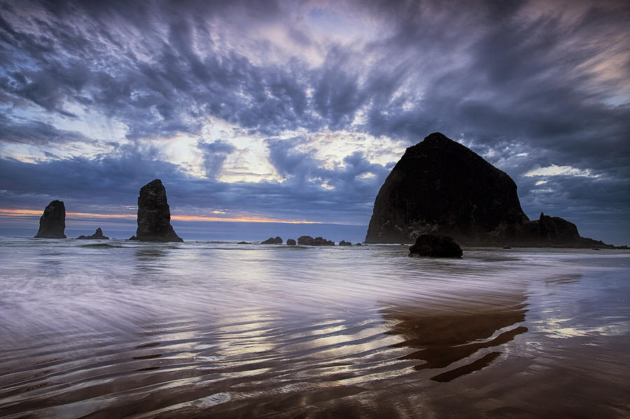 Beach Photograph - Haystack Rock At Sunset by Andrew Soundarajan