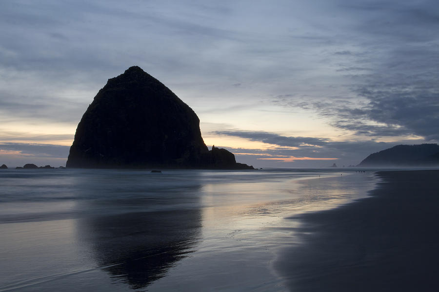 Haystack Photograph - Haystack Rock On Cannon Beach Oregon Evening by David Gn