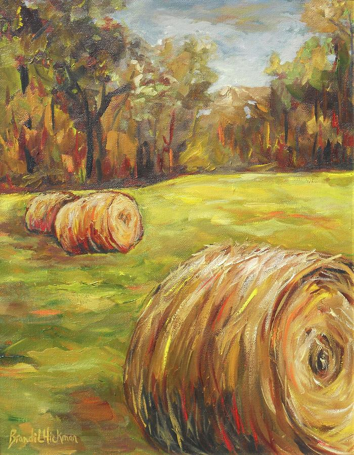 Farm Painting - Haystacks by Brandi  Hickman