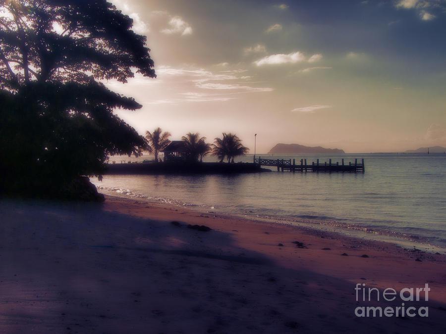 Sunset Photograph - Hazey Samoan Sunset by Karen Lewis