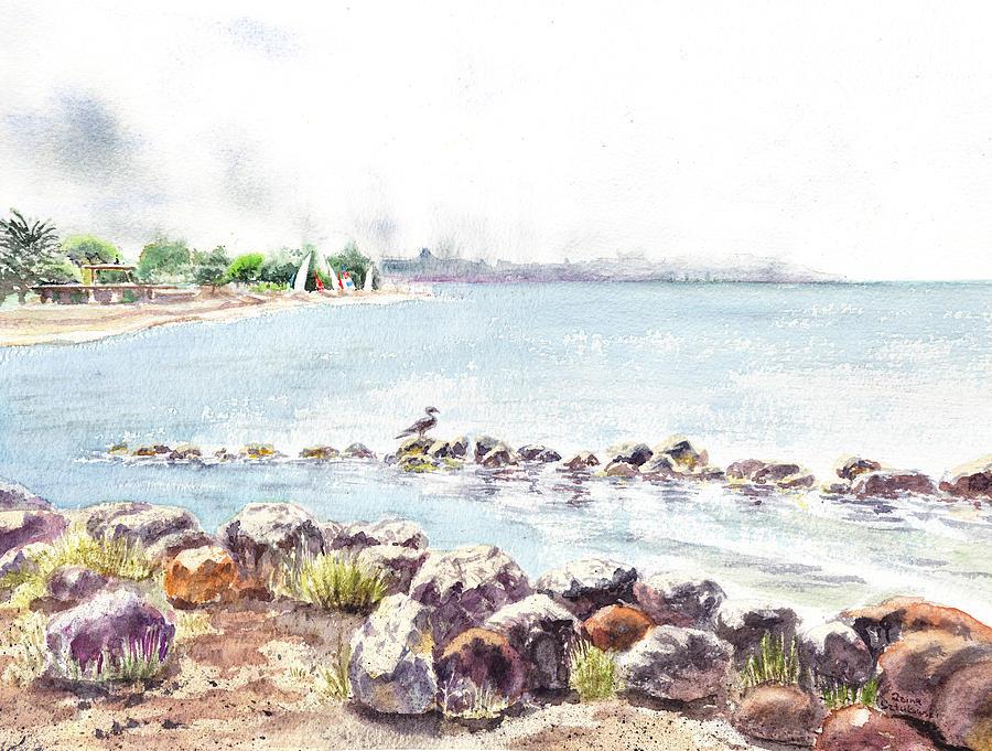 Seascape Painting - Hazy Morning At Crab Cove In Alameda California by Irina Sztukowski