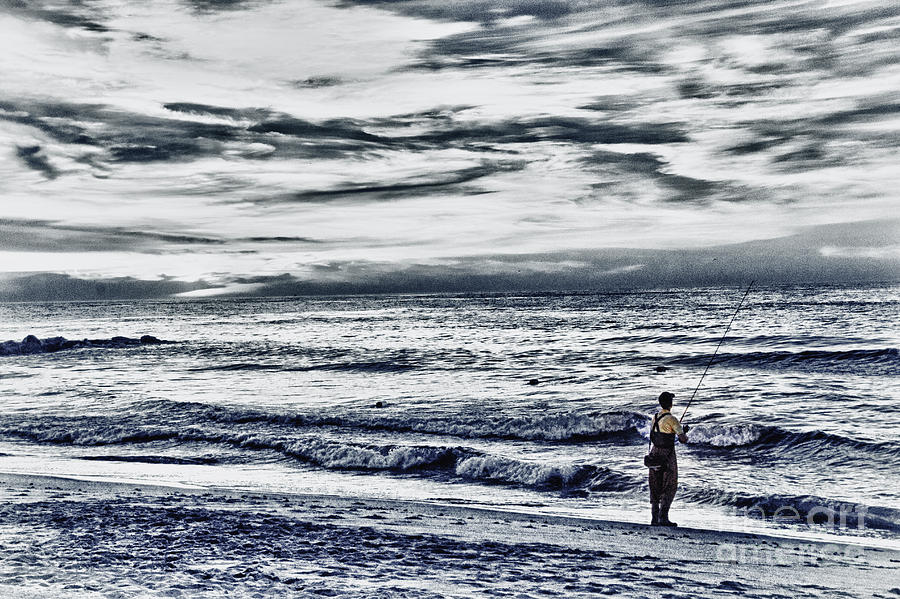Hdr photograph hdr black white color effect fisherman beach ocean sea seascape landscape photography image
