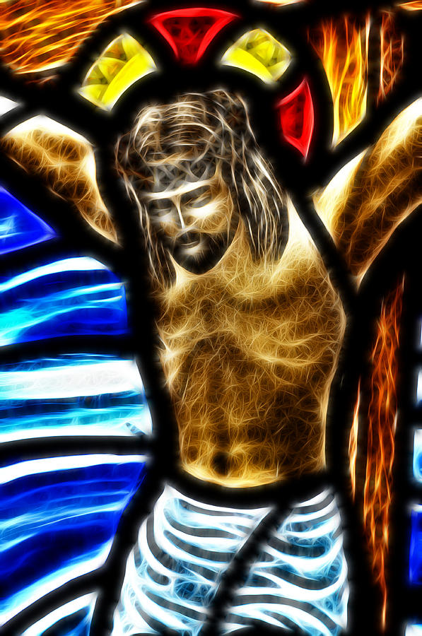 Stained Glass Digital Art - He Hung In There 2 by Karen Showell