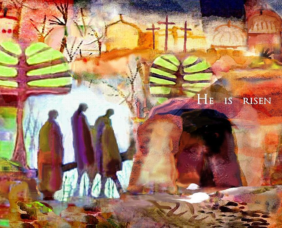 Easter Digital Art - He Is Risen by Michael Torevell