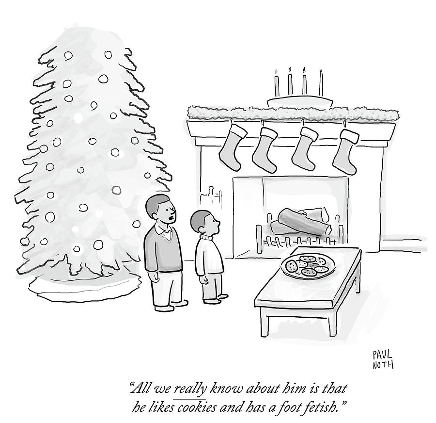 Indoors Drawing - He Likes Cookies And Has A Foot Fetish by Paul Noth