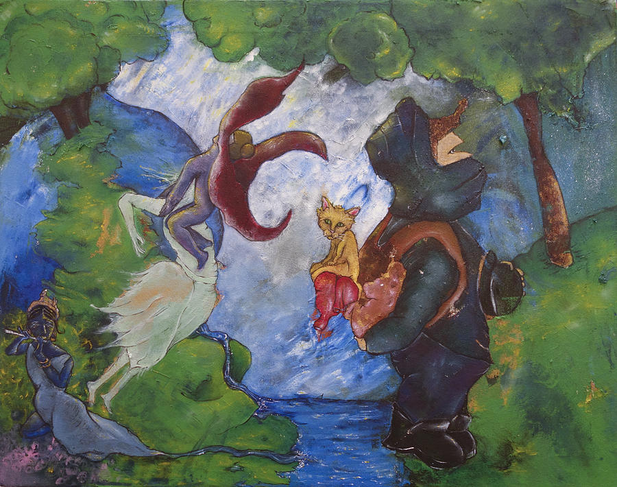 Fairytales Painting - He Paused For A Moment Once He Reached The Other Side by Abigail Lee Goldberger