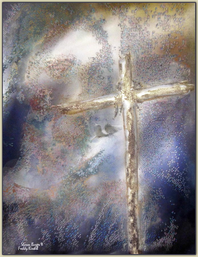 Jesus Mixed Media - He Sends Down His Love by Freddy Kirsheh