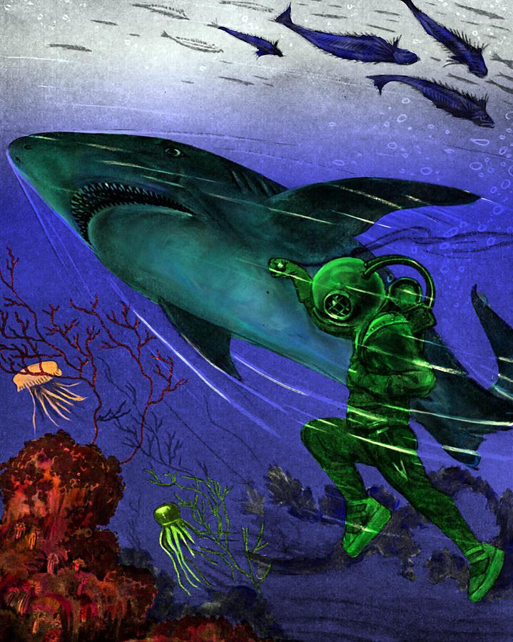 Underwater Digital Art - He Threw Himself by Jason Edwards