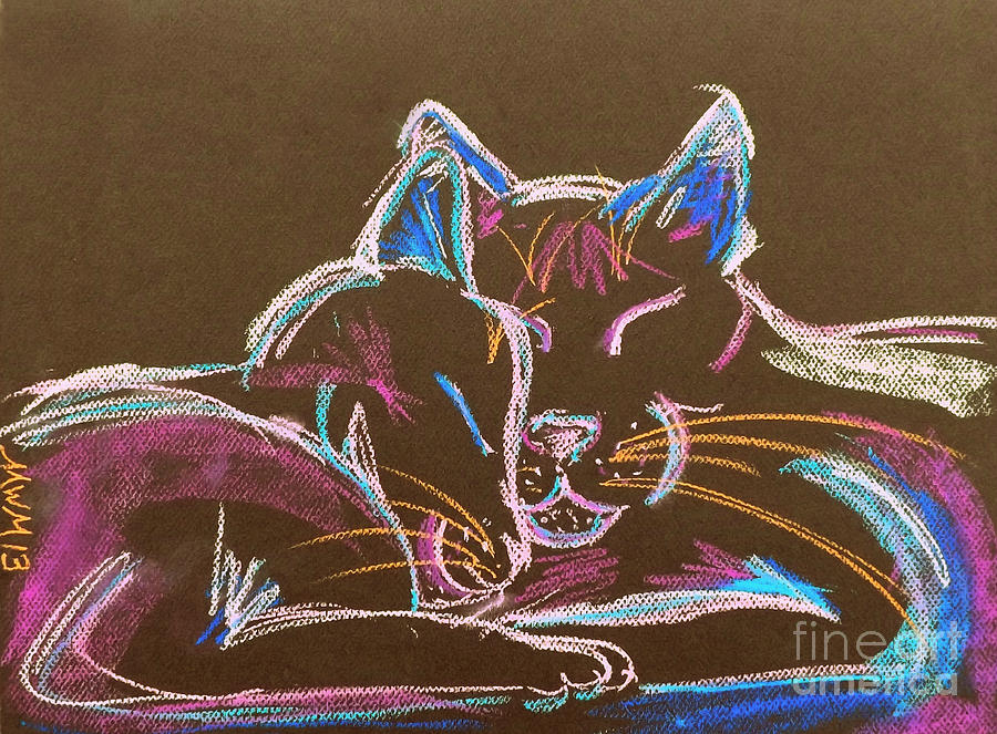 Cat Drawing - Head Bump by Michelle Wolff