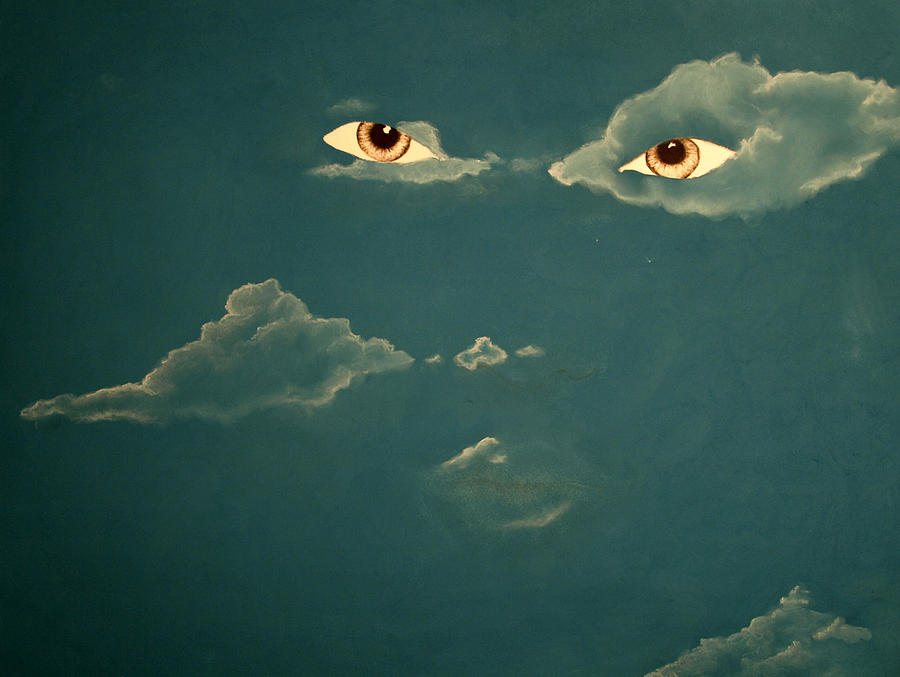 Eyes Drawing - Head In The Clouds by Corina Bishop