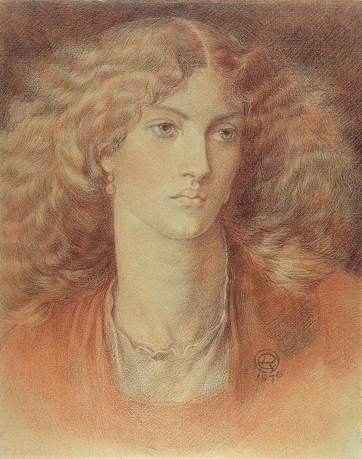 Drawing Drawing - Head Of A Woman Called Ruth Herbert by Dante Charles Gabriel Rossetti