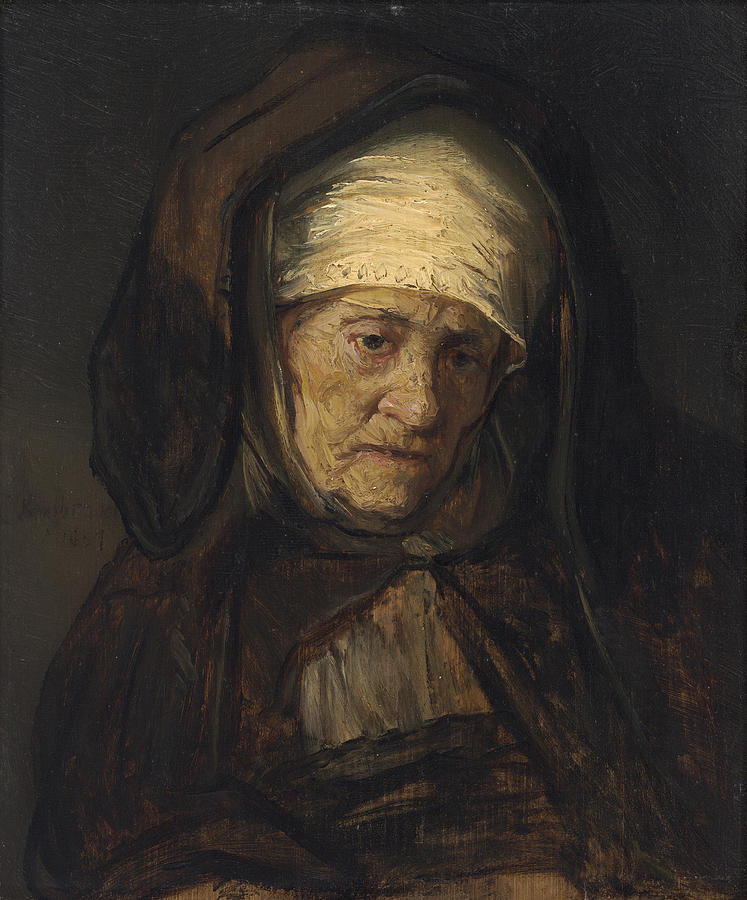 head of an aged woman painting by rembrandt