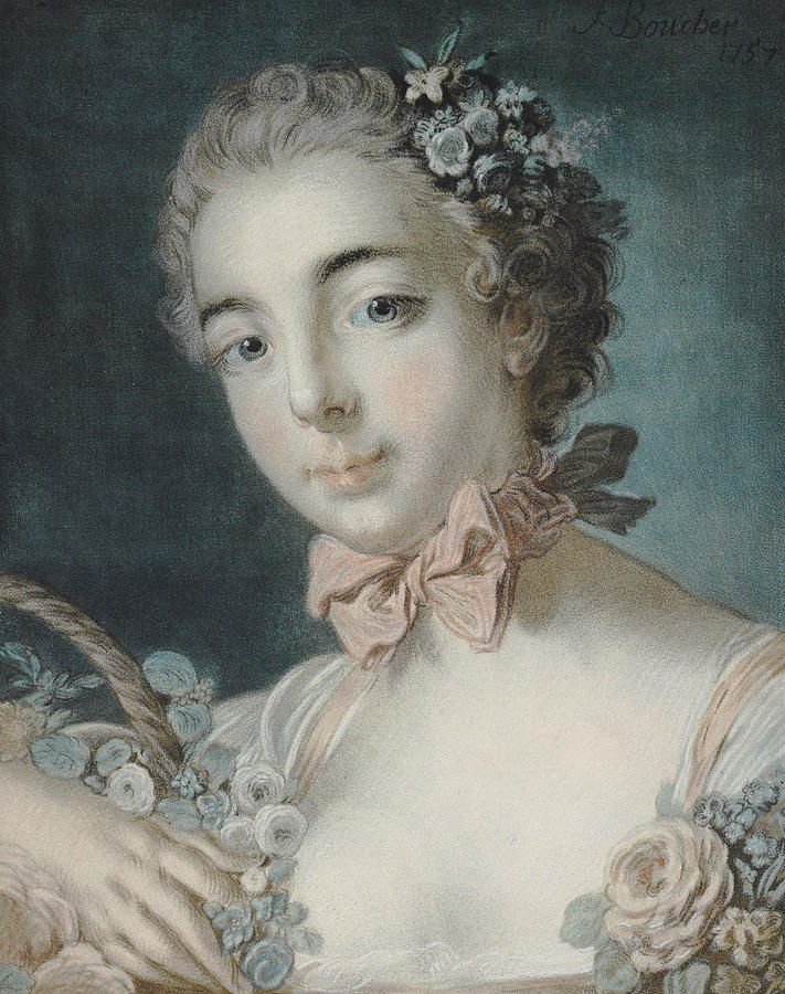 Flora Pastel - Head Of Flora by Francois Boucher
