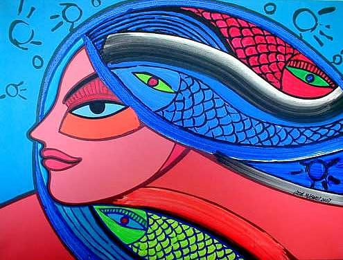 Women Painting - Head Of Woman With Fish by Jose Miguel Perez Hernandez
