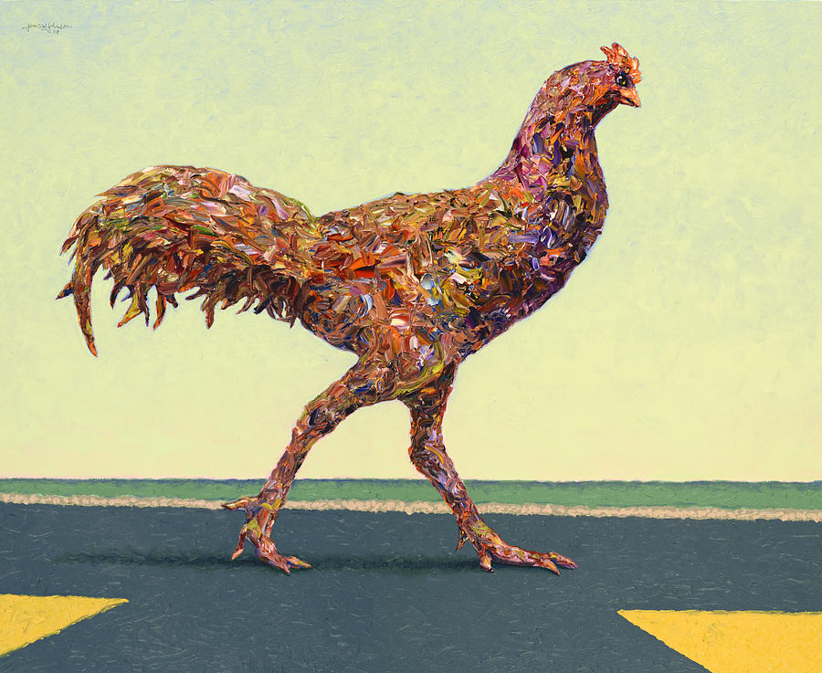 Chicken Painting - Head-on Chicken by James W Johnson