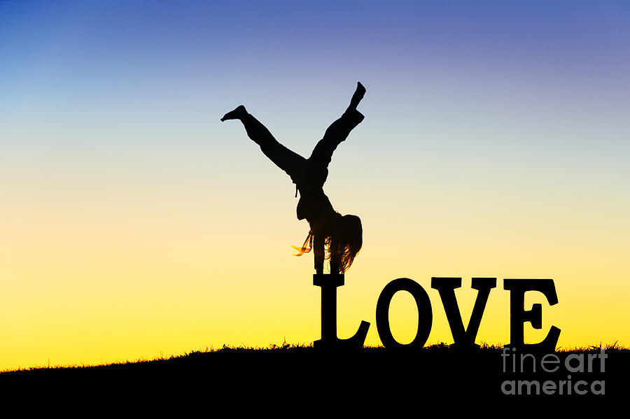 Silhouette Photograph - Head Over Heels In Love by Tim Gainey