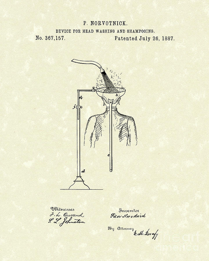 1887 Drawing - Head Washer 1887 Patent Art by Prior Art Design