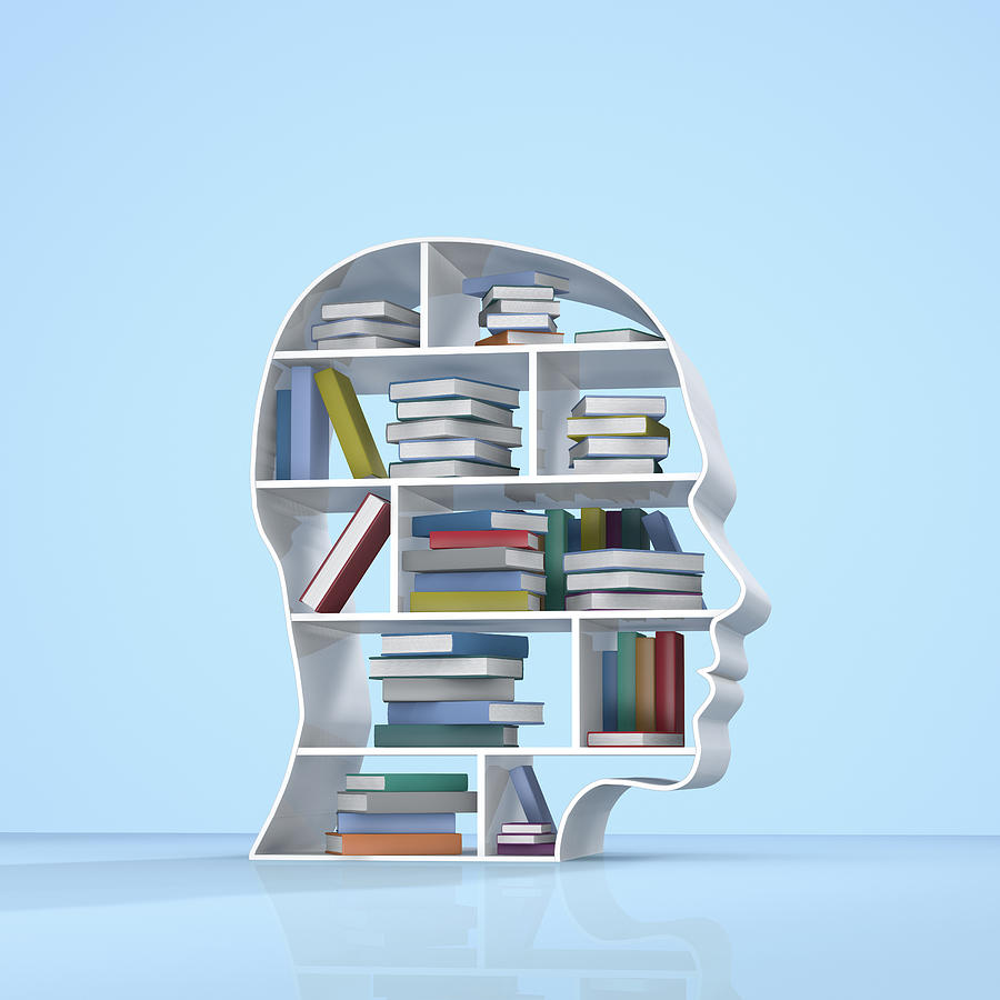 Head with a bookshelf and stacked books Photograph by Artpartner-images