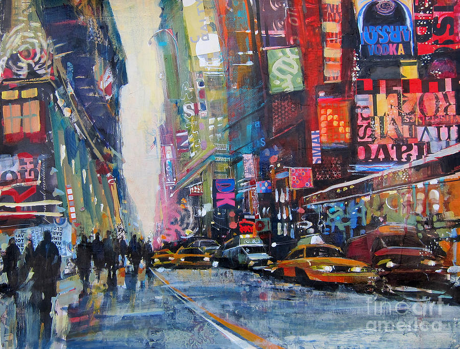 heading downtown nyc painting by patti mollica