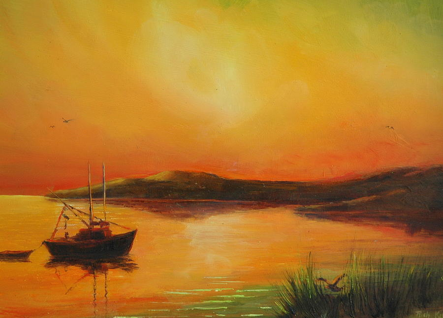 Dingy Painting - Heading Home At Sunset by Rich Kuhn