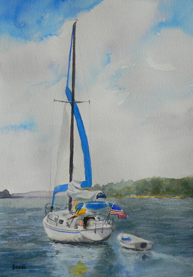 Sailboat Painting - Heading Home by Todd Derr