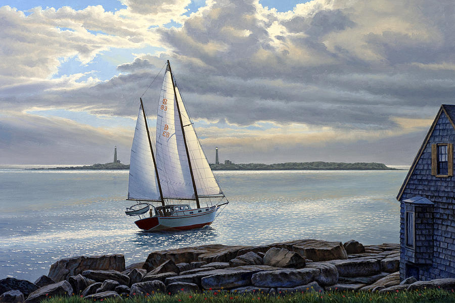 Seascape Painting - Heading Out-close Hauled     by Paul Krapf