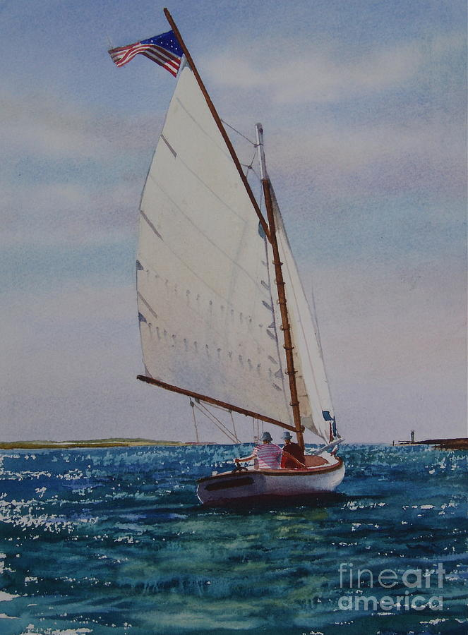 Catboat Painting - Heading Out by Karol Wyckoff