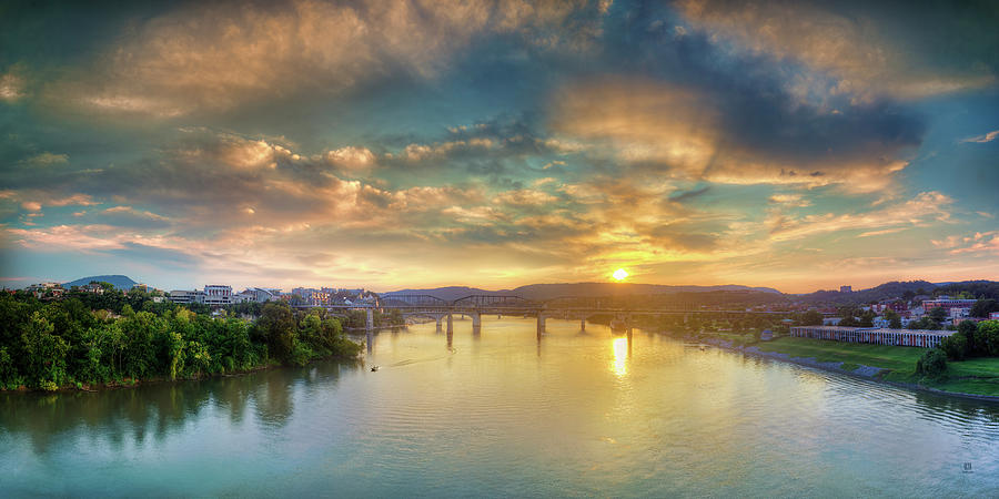 Veterans Bridge Photograph - Heading Up River by Steven Llorca