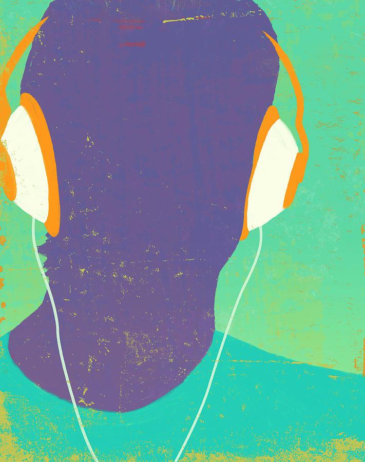 Headphones Silhouette Digital Art by Don Bishop