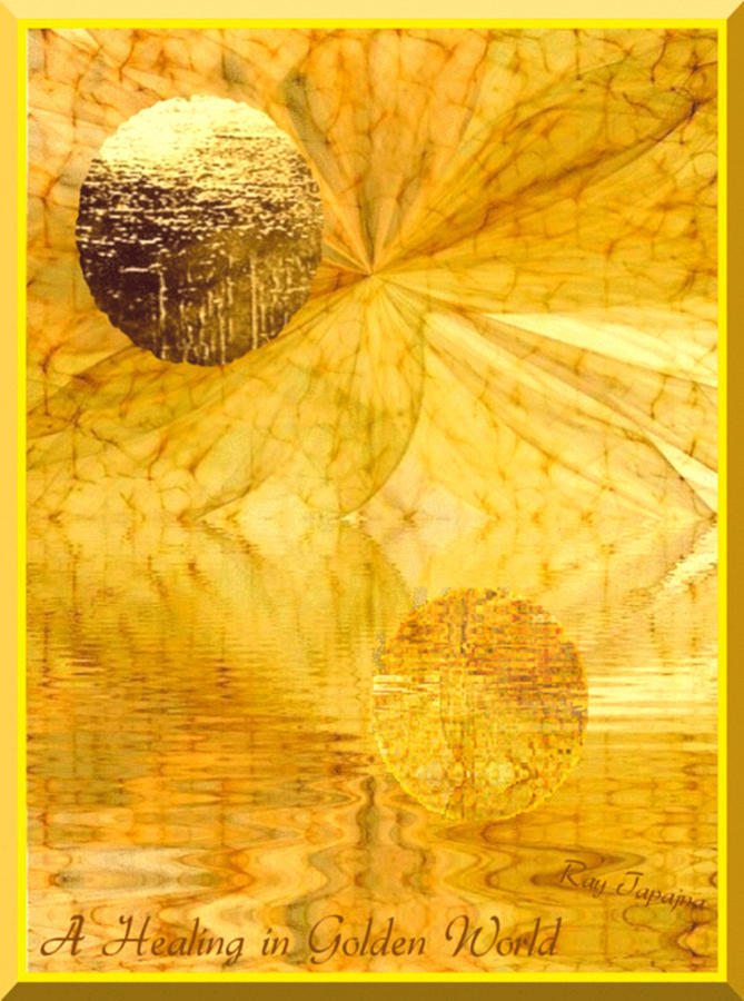 Chromotherapy Digital Art - Healing In Golden World by Ray Tapajna