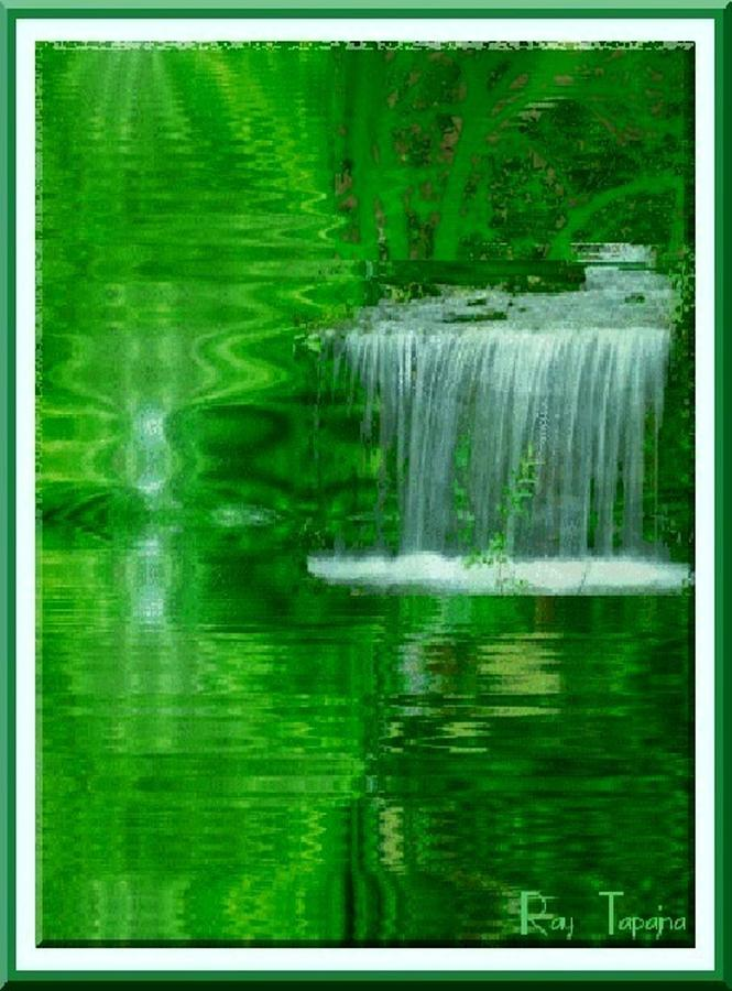 Falls Digital Art - Healing in Green Waters by Ray Tapajna