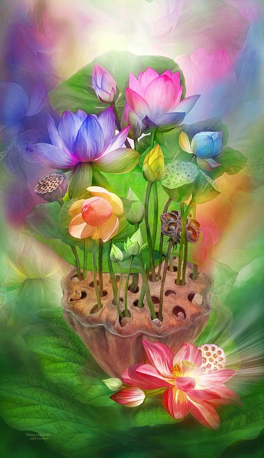 Healing Lotus Chakras Mixed Media By Carol Cavalaris
