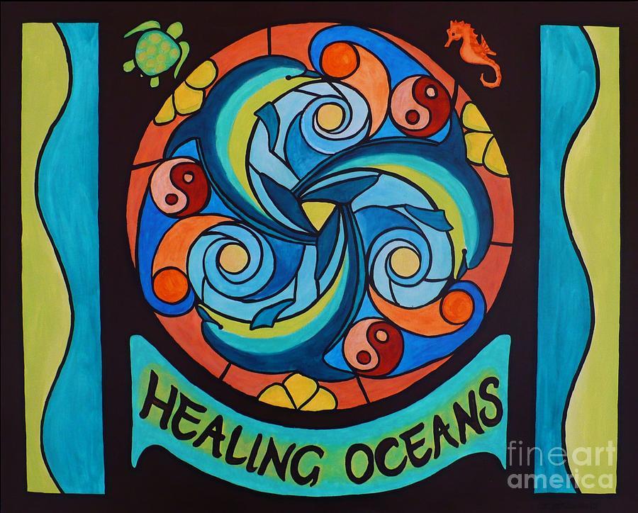 Mandala Painting - Healing Oceans by Janet McDonald