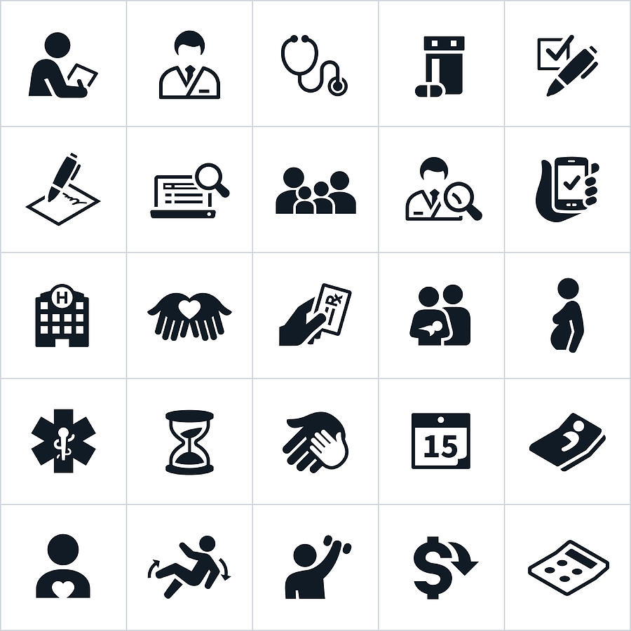 Healthcare Insurance Icons Drawing by Appleuzr