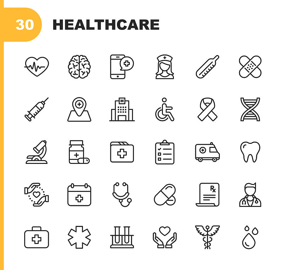 Healthcare Line Icons. Editable Stroke. Pixel Perfect. For Mobile and Web. Contains such icons as Hospital, Doctor, Nurse, Medical help, Dental Drawing by Rambo182