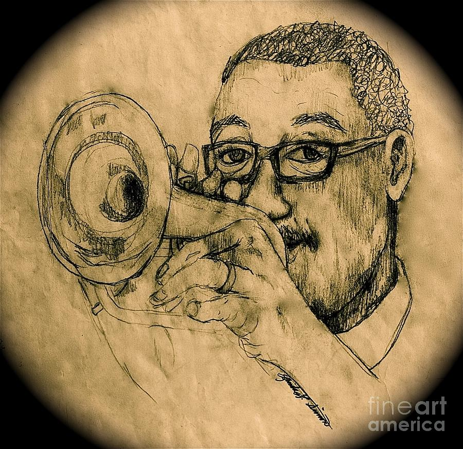 Trumpet Drawing - Hear The Music by Linda Simon
