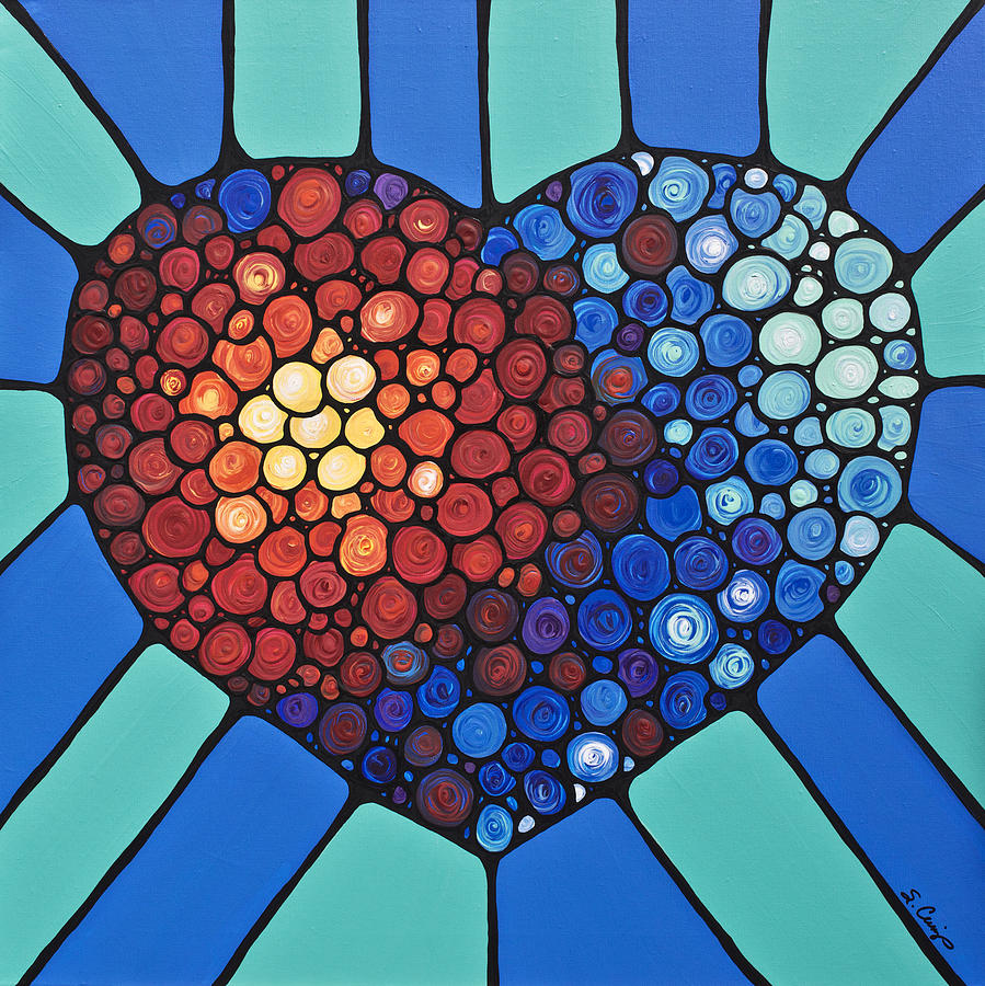 Heart Painting - Heart Art - Love Conquers All 2  by Sharon Cummings